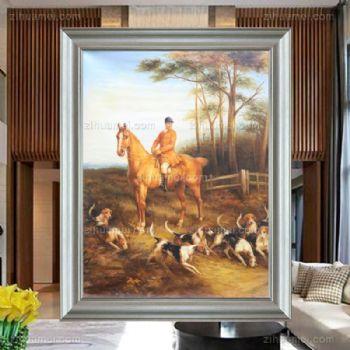 欧式贵族骑马打猎油画