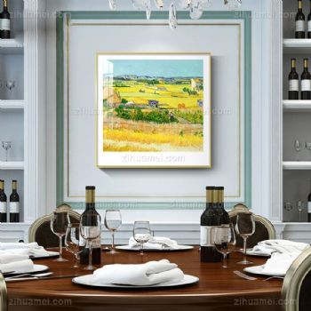 餐厅玄关挂画梵高丰收卧室墙壁画