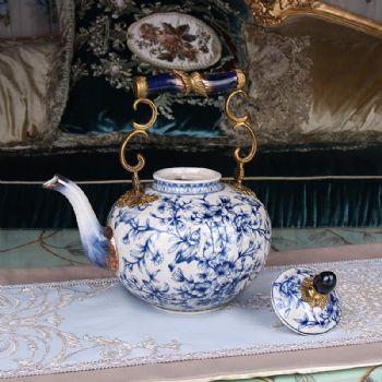新中式古典青花瓷装饰提壶客厅软装饰品家居创意玄关酒柜陶瓷摆件