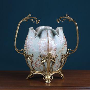 欧式复古彩绘瓷器花瓶 陶瓷纯铜花插家居饰品客厅电视柜玄关摆件