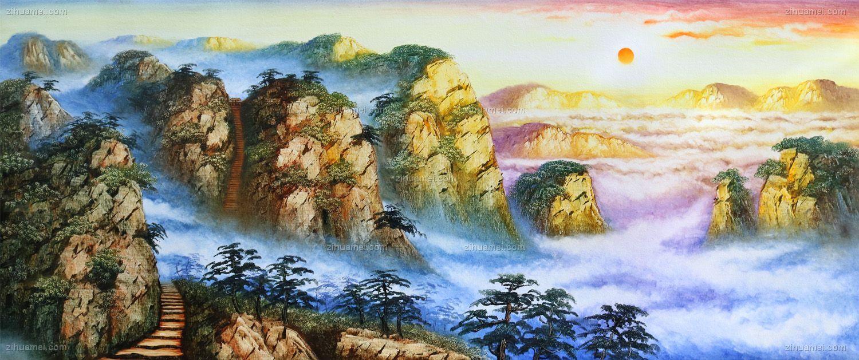 山水刀笔画