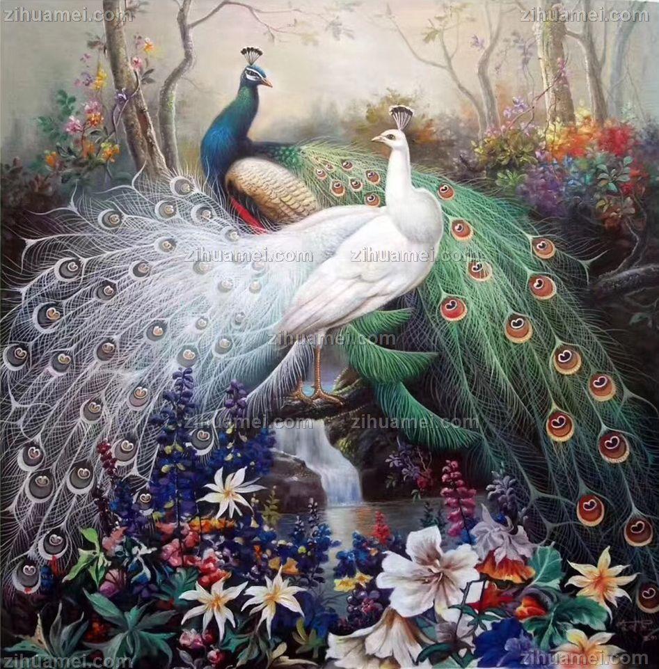 花鸟画手绘油画孔雀油画