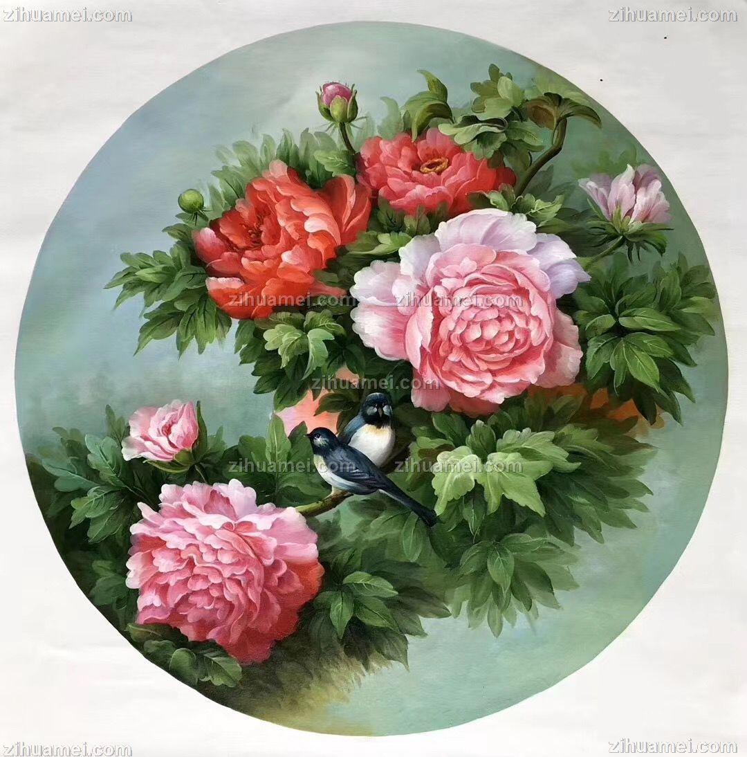 花鸟画牡丹手绘油画