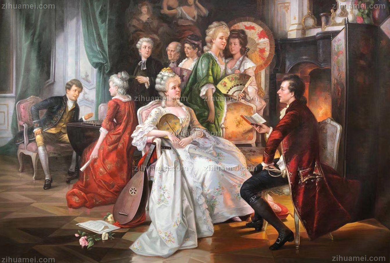宫廷人物油画手绘油画