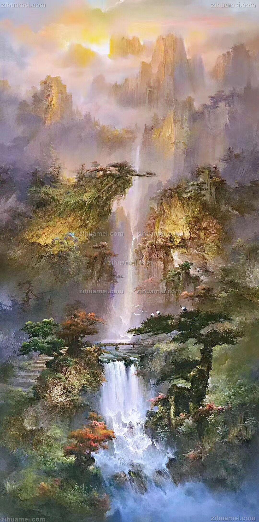 新中式山水画油画