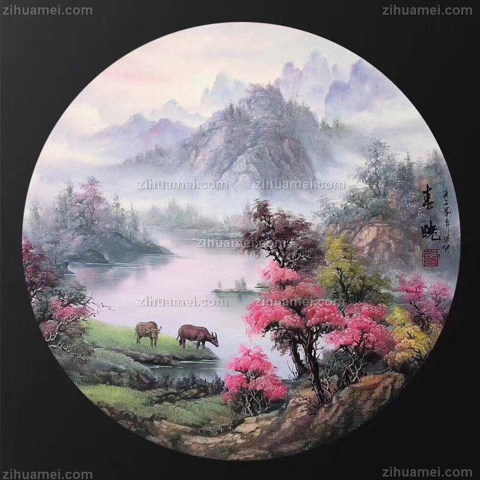 圆形山水油画风景画