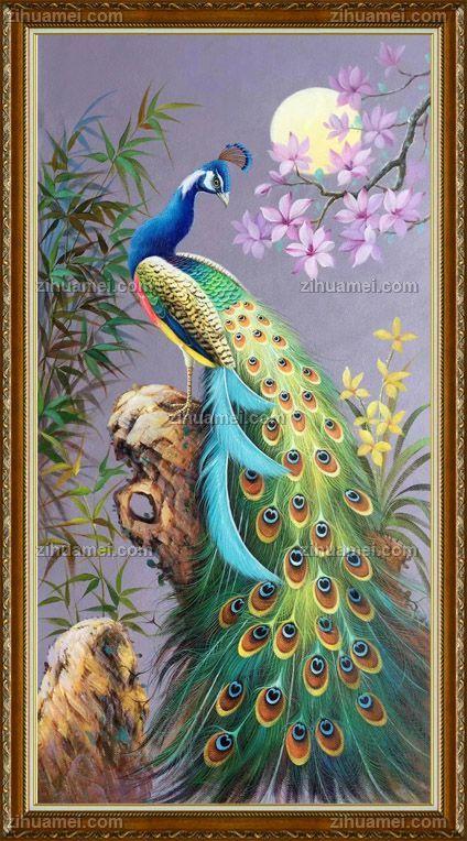 月光下的孔雀纯手绘油画