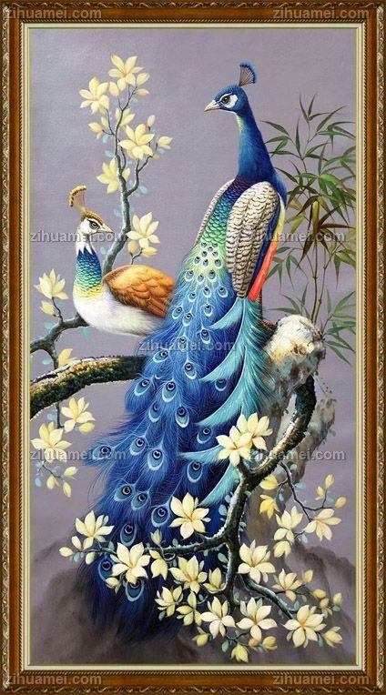 孔雀是吉祥象征着阴阳结合以及和谐油画风景花鸟画