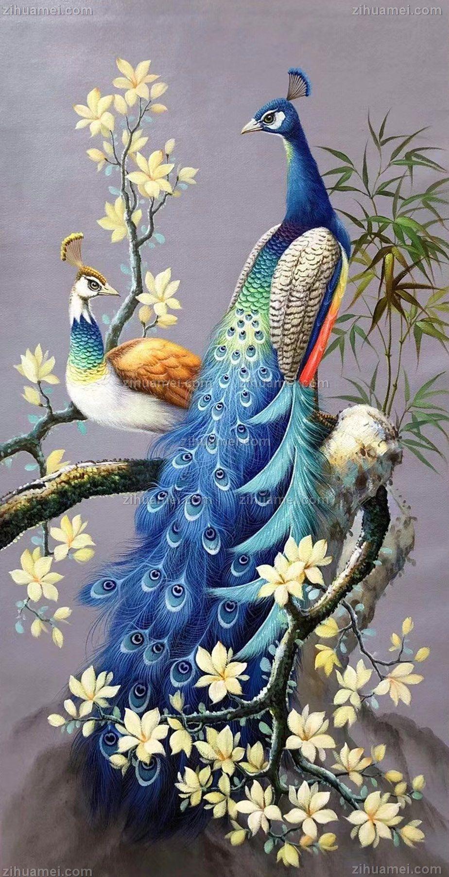 花鸟画手绘油画两只孔雀