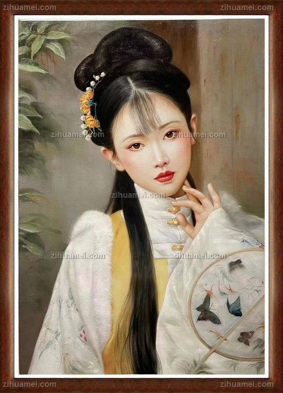 手绘古典美女油画客厅挂画