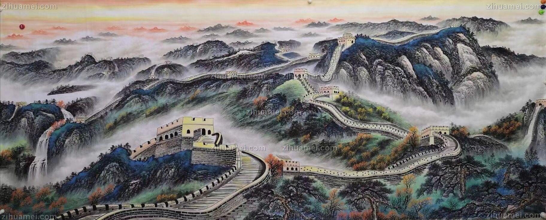 国画长城图片