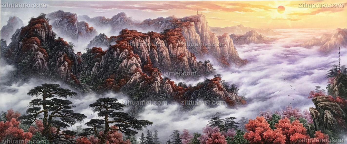 新中式山水油画风水画