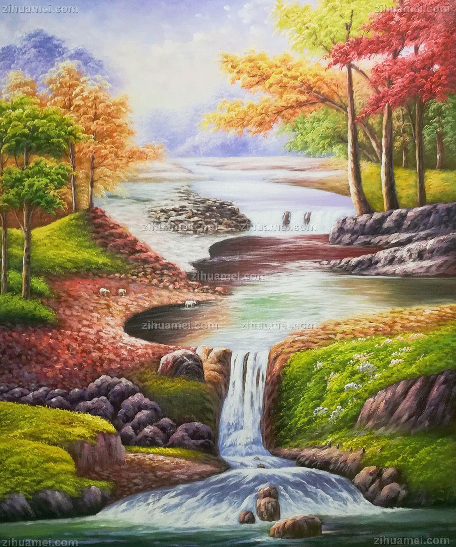山水油画 色彩丰富 中式油画