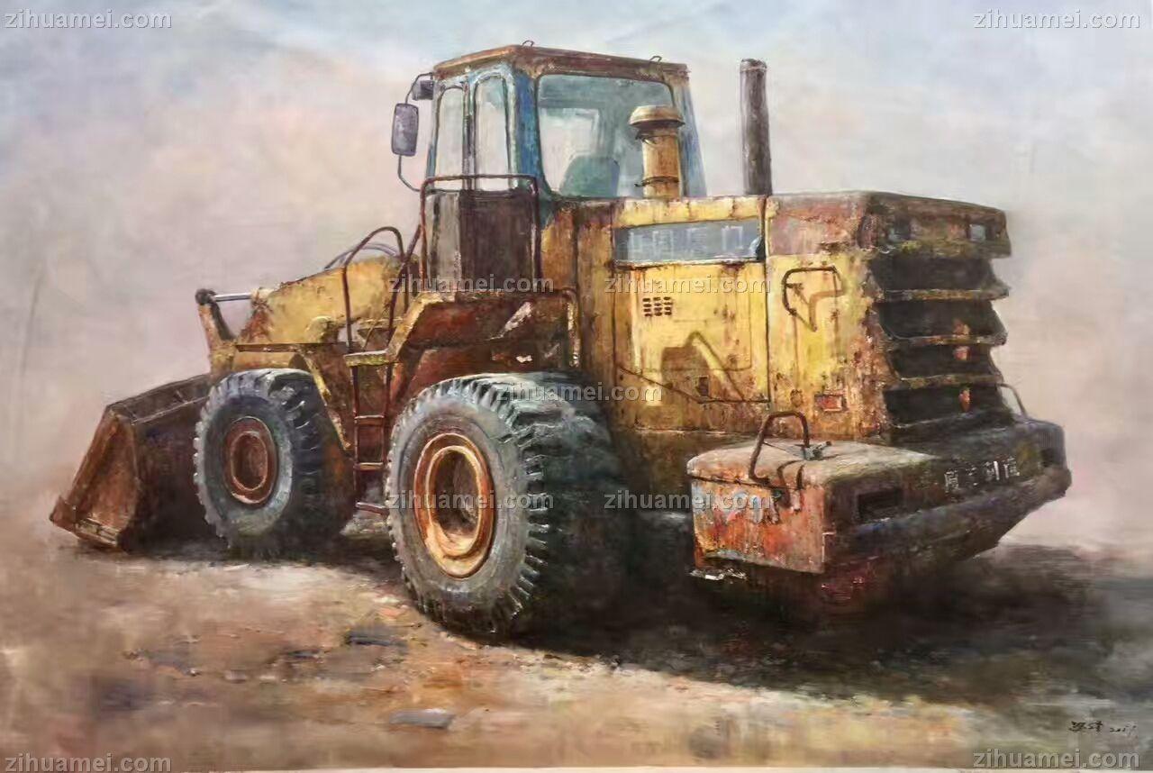 收藏级 中式油画 陈旧的推土机