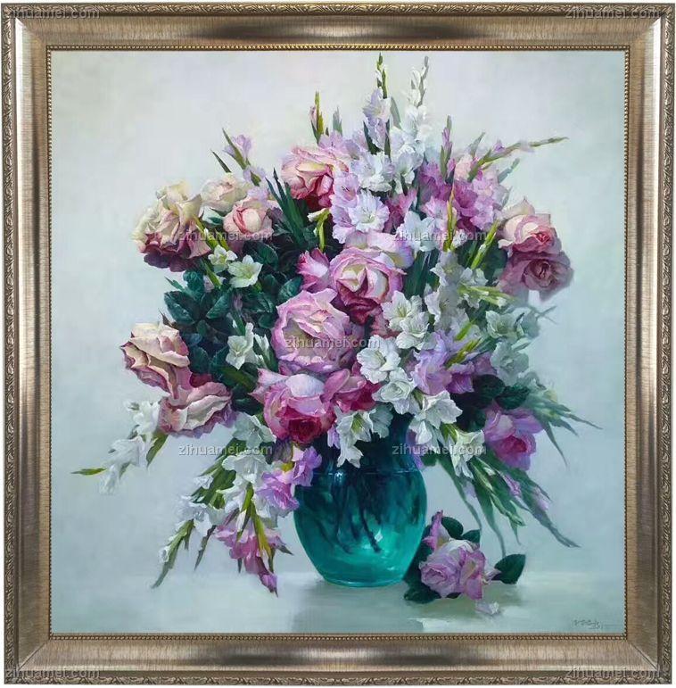 静物油画 写意油画 美丽的花瓶