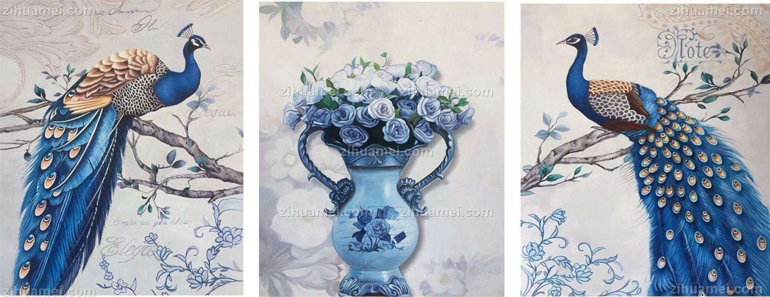 四条屏 梅兰竹菊 中式油画