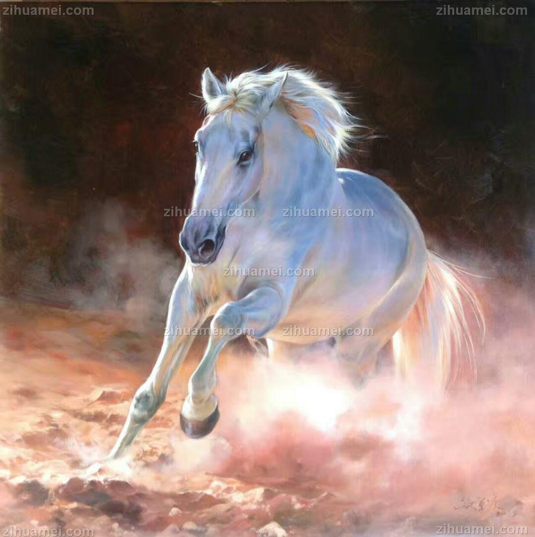 中式油画 骏马 奔跑跳动
