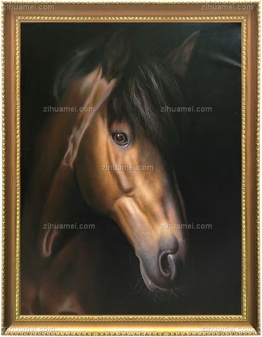 中式油画 骏马 马头