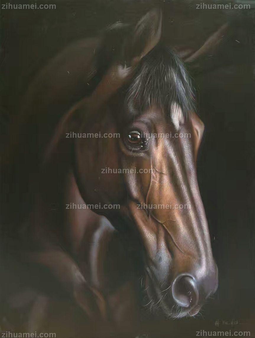 中式油画 骏马 马头 高贵气质