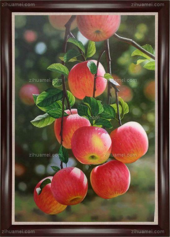中式油画 超写实油画 红苹果
