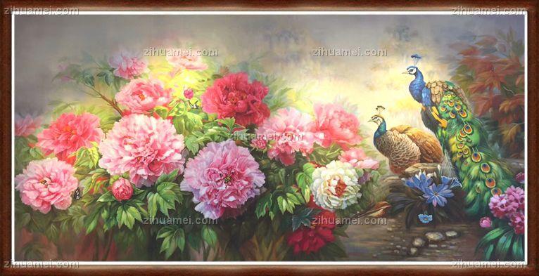 富贵牡丹 高贵孔雀  中式油画