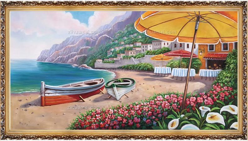 绘欧式地中海风景