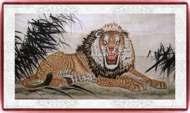 国画 雄狮威震八方