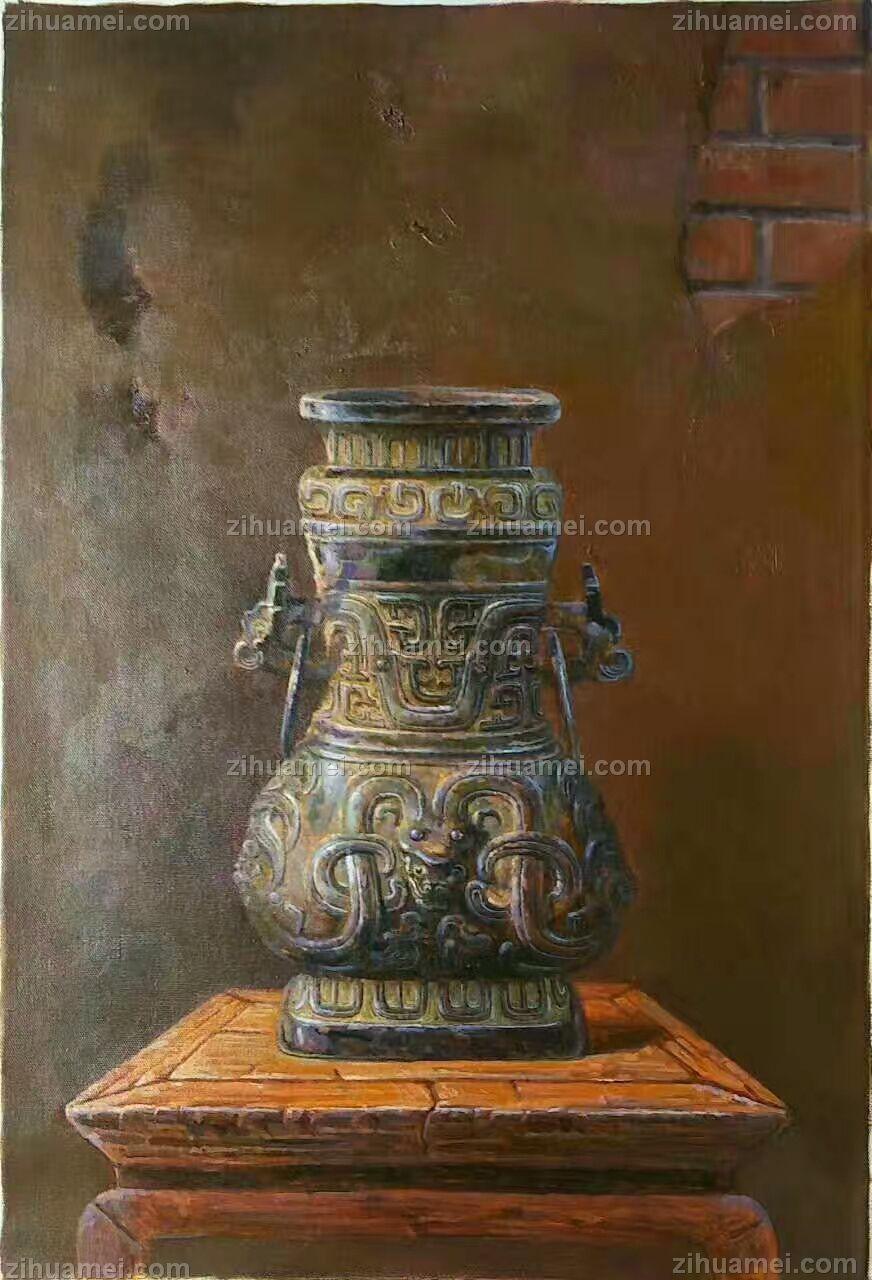 青铜器手绘油画