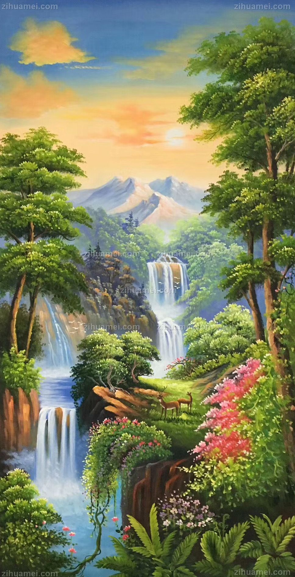 中国山水风景油画_手绘油画山水风景油画客厅玄关装饰画定制油画竖版-字画美