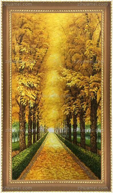 纯手绘手工 黄金大道 一片金黄