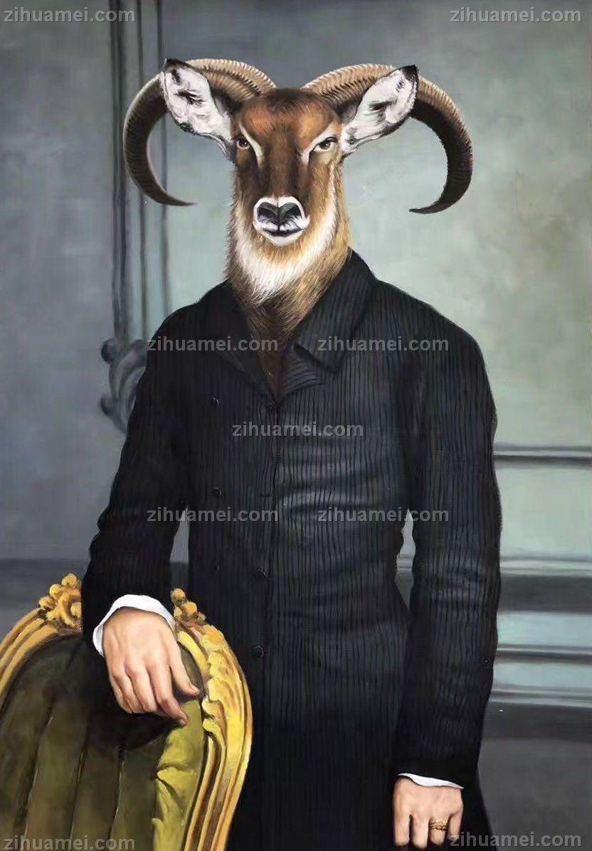 现代油画艺术 羊头人身