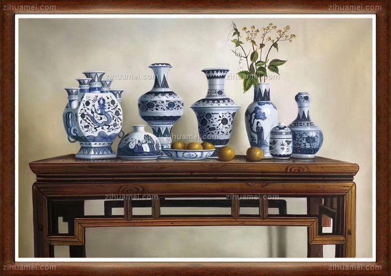 青花瓷 手绘静物油画