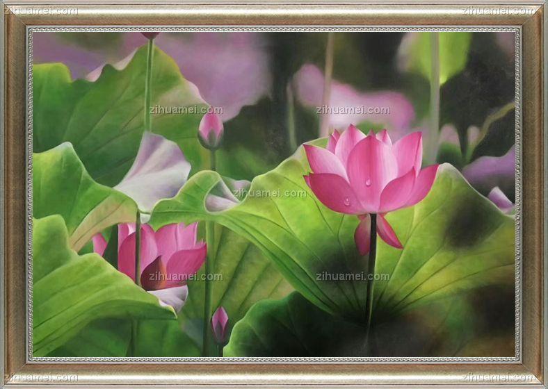 荷花油画花卉