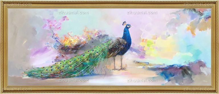 高档绿孔雀油画