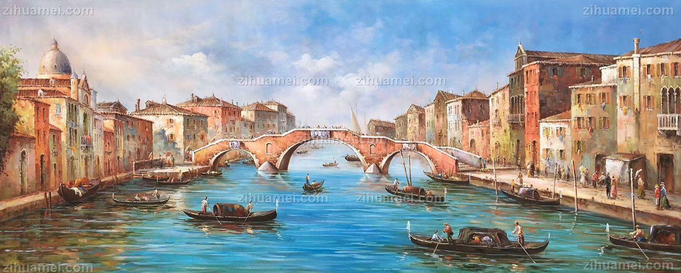 纯手绘欧式名画威尼斯风景油画客厅装饰画沙发背景墙挂画卧室餐厅挂画