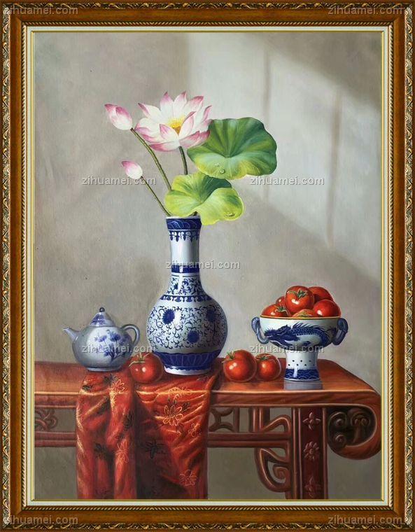 新中式油画客厅挂画