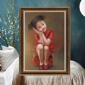 中式油画 手绘人物油 儿童油画 小女孩形象写实人物油画 玄关挂画 家庭装饰画写实油画
