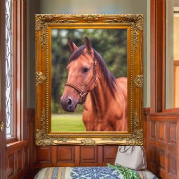 骏马图 手绘写实油画 动物油画 中式名家油画 适合办公室挂画 实大外框 角花框 客厅挂画办公室挂画 客厅挂画