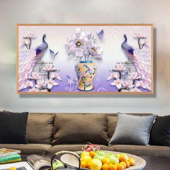 现代客厅高档轻奢孔雀花瓶寓意平安富贵晶瓷装饰画铝合金框样板房挂画晶瓷画装饰画