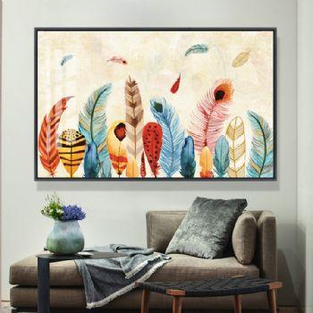 非常漂亮多彩的羽毛画高档轻奢晶瓷画适合客厅酒店的挂画晶瓷画装饰画