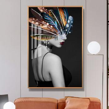 黑色背景人物装饰画美女高档轻奢晶瓷画玄关走廊挂画晶瓷画装饰画