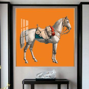 高档新中式橙色富贵马系列轻奢晶瓷画玄关走廊挂画晶瓷画装饰画