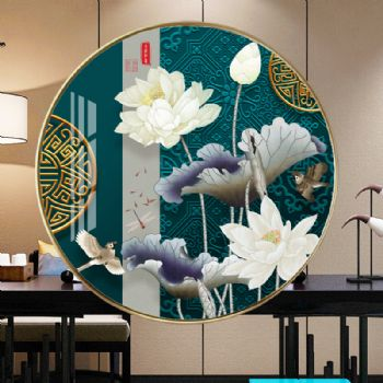 奢华国风传统中国画轻奢晶瓷画装饰画铝合金框现代挂画晶瓷画装饰画