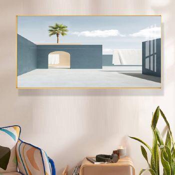 High grade light luxury modern hotel restaurant hanging painting Morandi Style Crystal porcelain painting decorative painting aluminum alloy frame晶瓷画装饰画