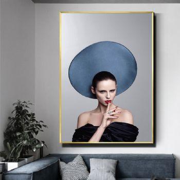 美女装饰画客厅沙发墙背影轻奢晶瓷画装饰画铝合金框晶瓷画装饰画