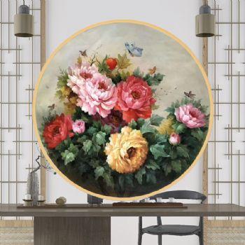 手绘油画牡丹玄关挂画花鸟客厅装饰画卧室床头餐厅墙壁画新中式花卉油画手绘牡丹