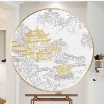 立体素雅3D浮雕肌理画山水楼阁新中式现代玄关装饰画中式客厅壁画浮雕挂画立体浮雕挂画