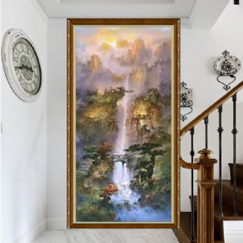 Original Chinese dream forest freehand landscape painting hand painted oil painting modern hand painted decorative painting solid wood frame写意山水画