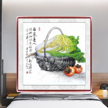 Realistic Chinese painting still life painting Chinese cabbage and persimmon写实国画水墨静物画