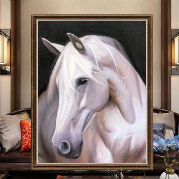 写实油画动物白马马头油画实力画师超写实油画寓意一马当先领导地位办公室挂什么油画好